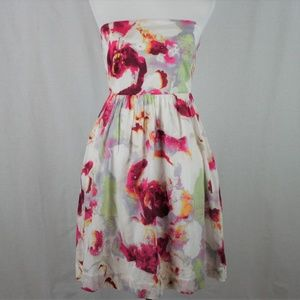Banana Republic Floral Watercolor Strapless Dress